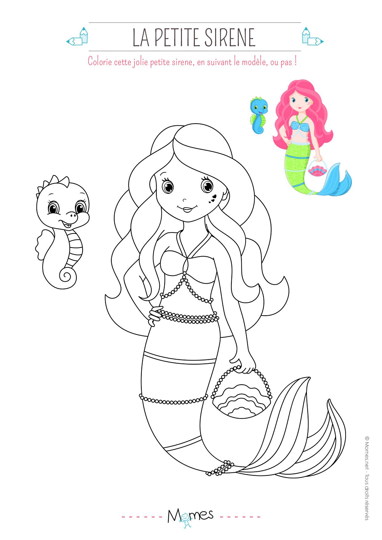 Coloriage Petite Sirène - Momes encequiconcerne Coloriage Princesse Sirene