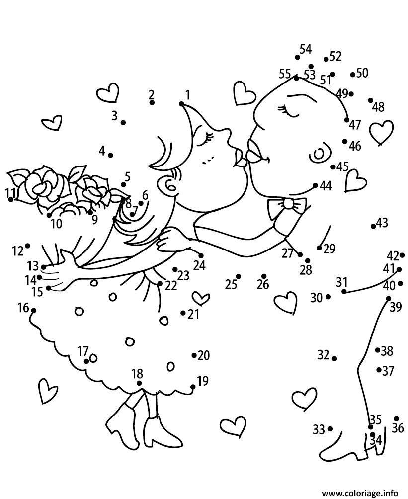 Coloriage Points A Relier Deux Amoureux Jeux A Imprimer Dessin dedans Jeu Relier Les Points En Ligne
