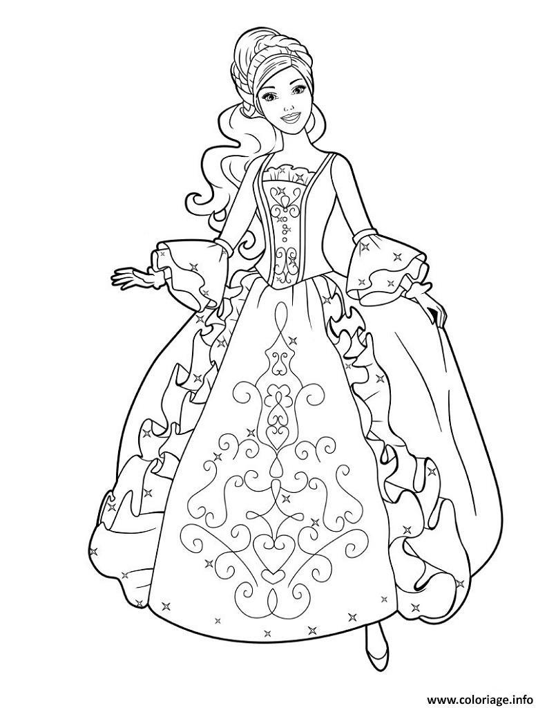 Coloriage Princesse Barbie Avec Une Jolie Robe Dessin encequiconcerne Coloriage Princesse Sirene