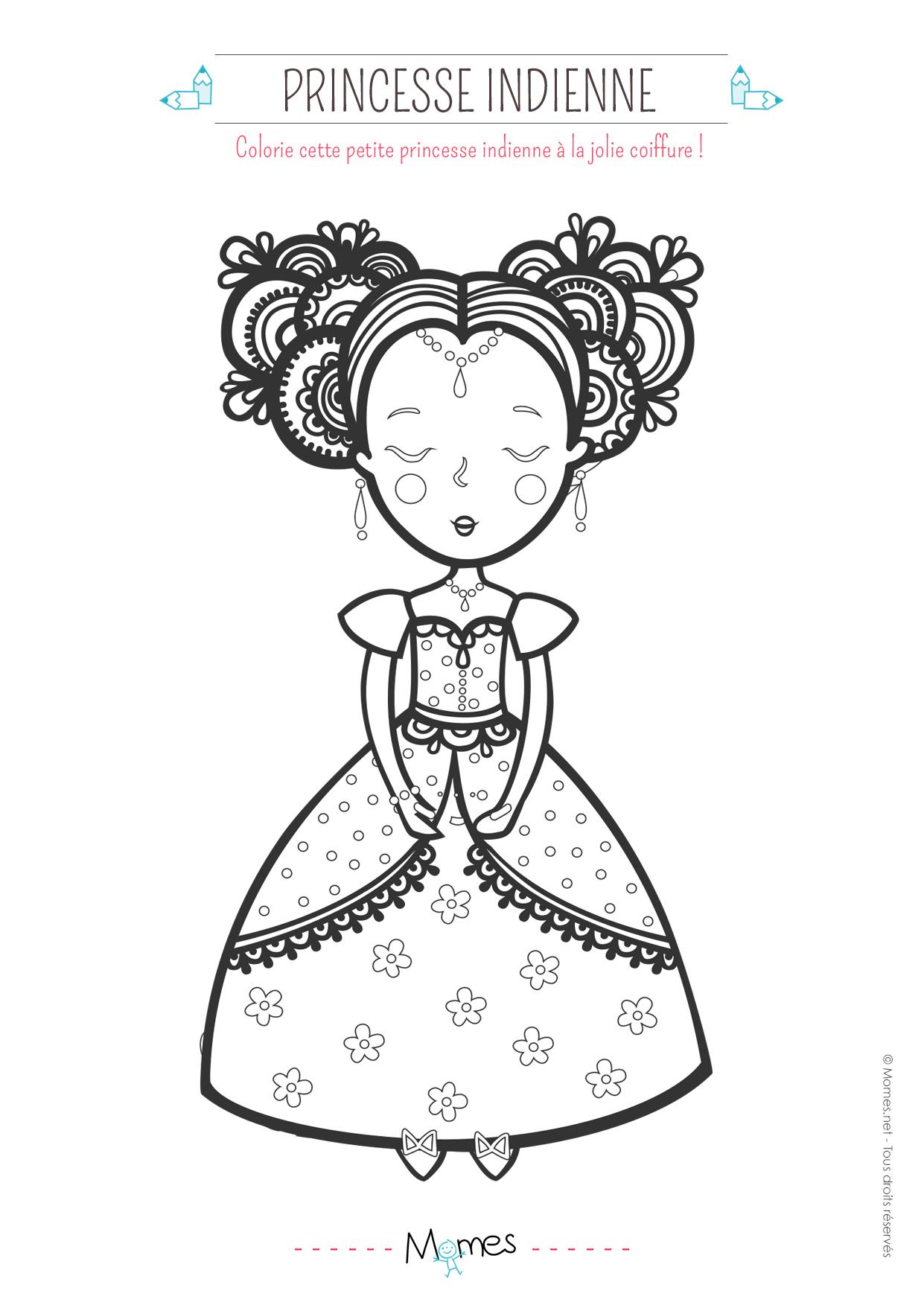 Coloriage Princesse Indienne - Momes encequiconcerne Coloriage Princesse Sirene