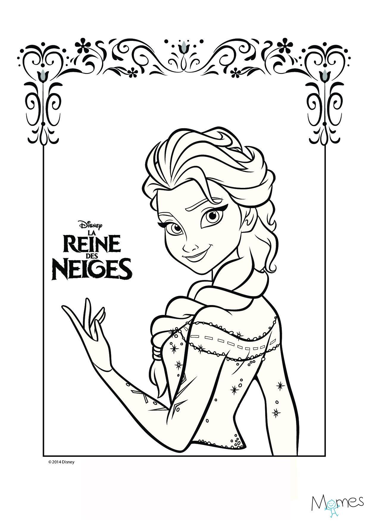 Coloriage Reine Des Neiges : Portrait D'elsa | Coloriage concernant Reine Des Neiges Dessin À Colorier