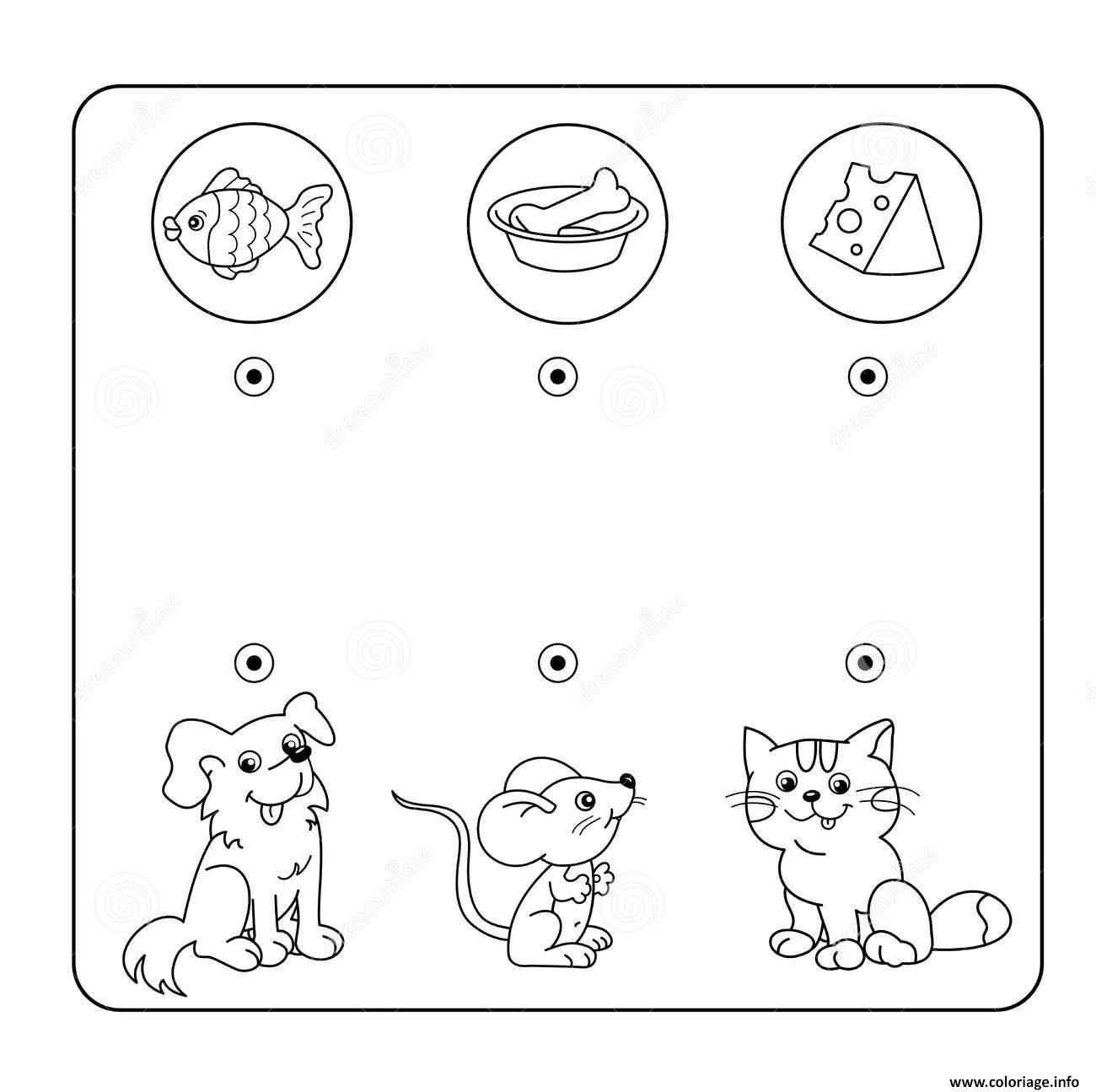 Coloriage Relie Chaque Animal A Son Repas Jeu A Imprimer Dessin dedans Jeux De Animaux Gratuit