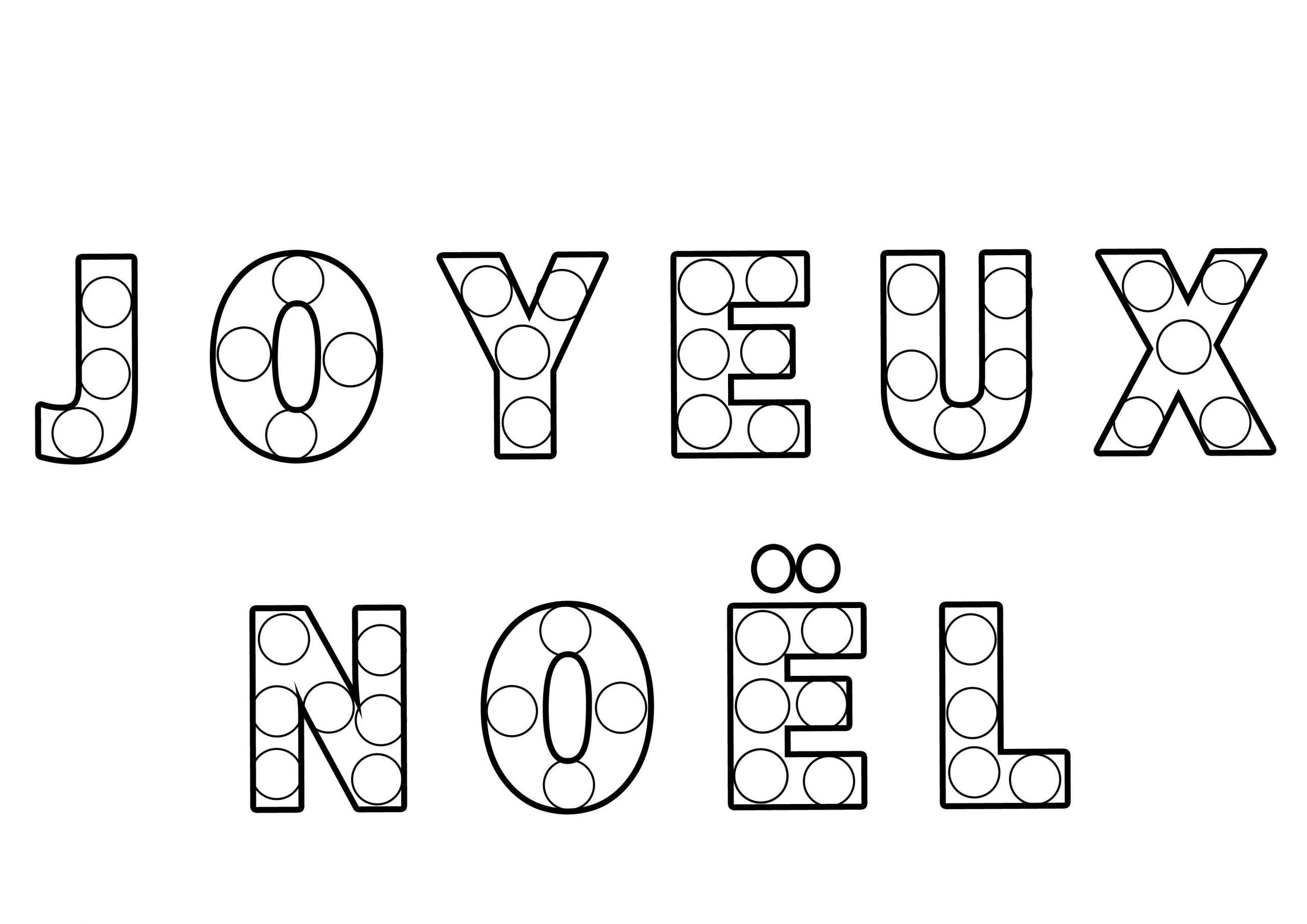 Coloriage Texte À Gommettes Joyeux Noël destiné Ecriture De Noel A Imprimer