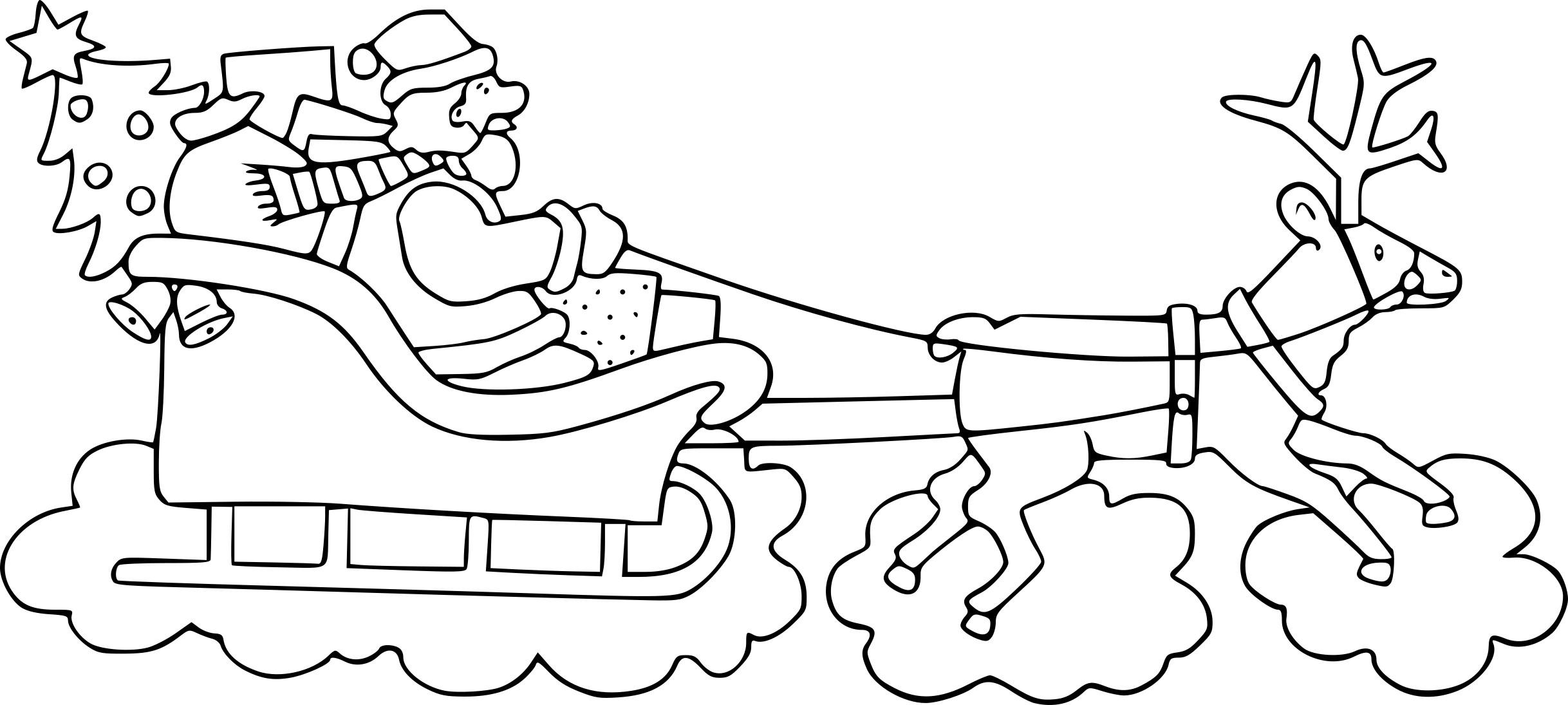 Coloriage Traîneau Du Père Noel À Imprimer à Dessin A Imprimer Pere Noel Gratuit
