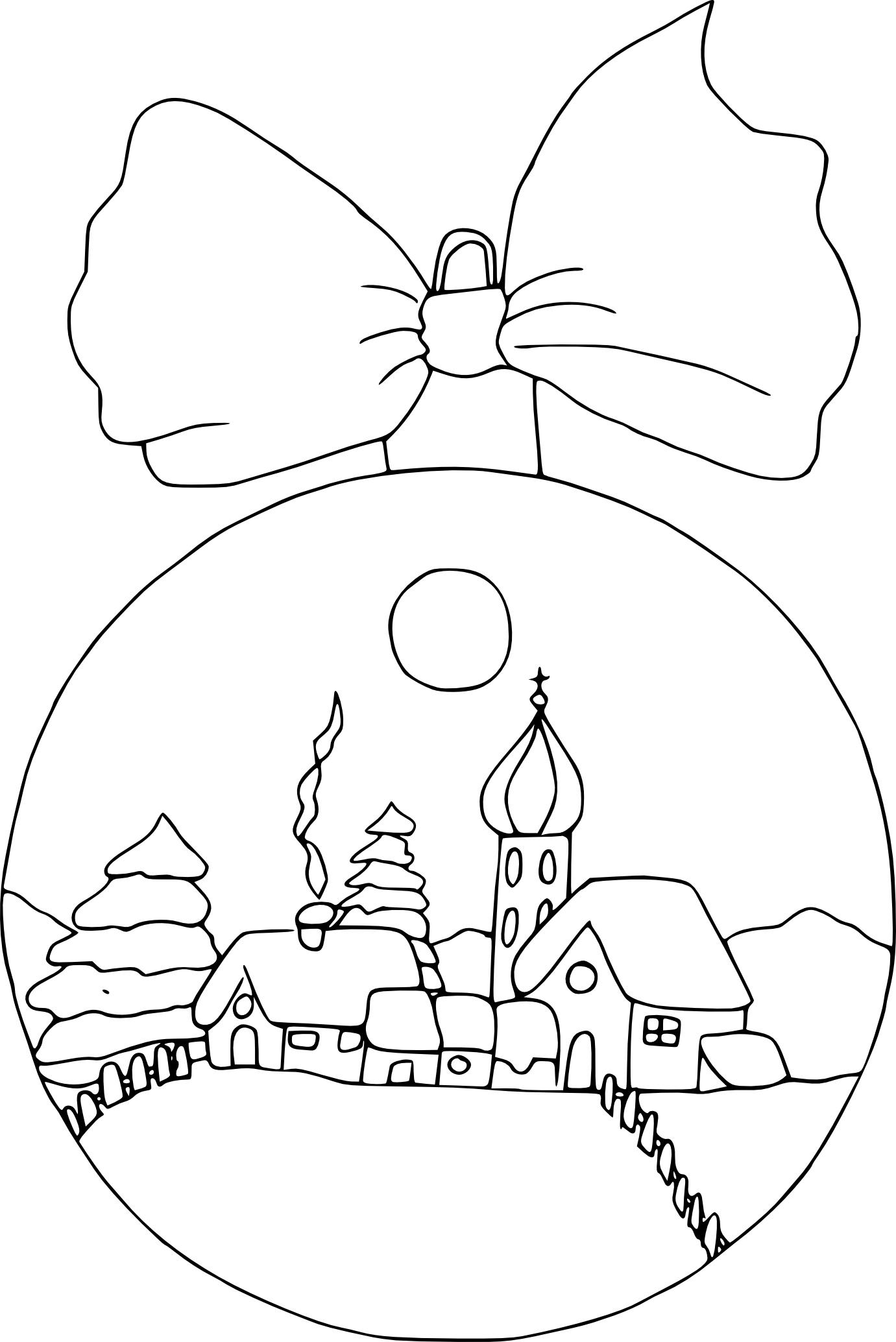 Coloriage Village Dans Boule De Noël À Imprimer Sur pour Coloriage Village De Noel