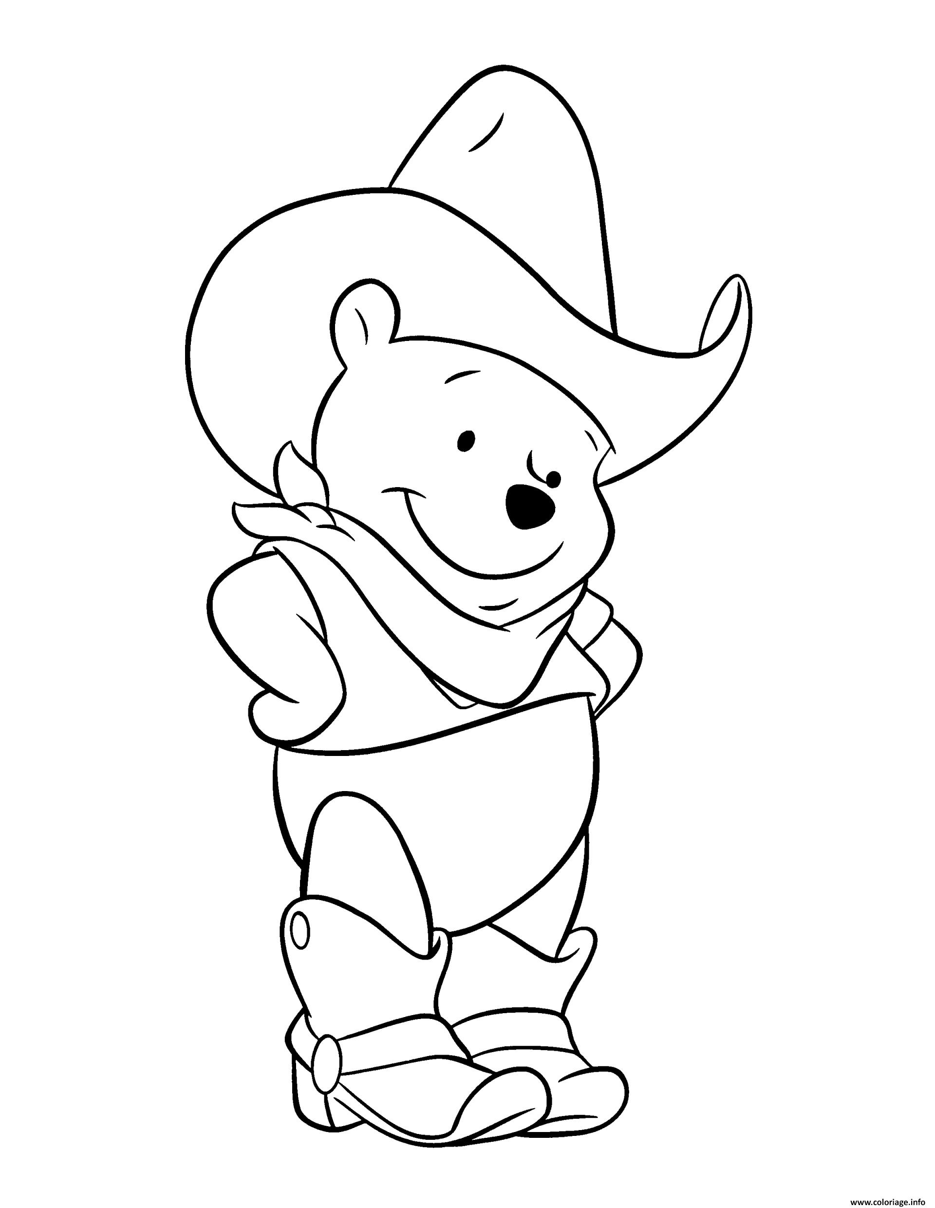 Coloriage Winnie De Pooh Ourson En Mode Cowboy Dessin destiné Coloriage De Mode À Imprimer