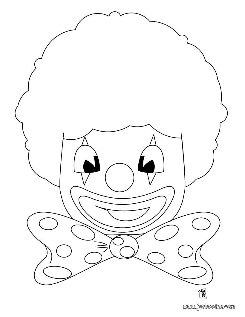 Coloriages Coloriage D'une Tête De Clown - Fr.hellokids destiné Coloriage Tete De Clown
