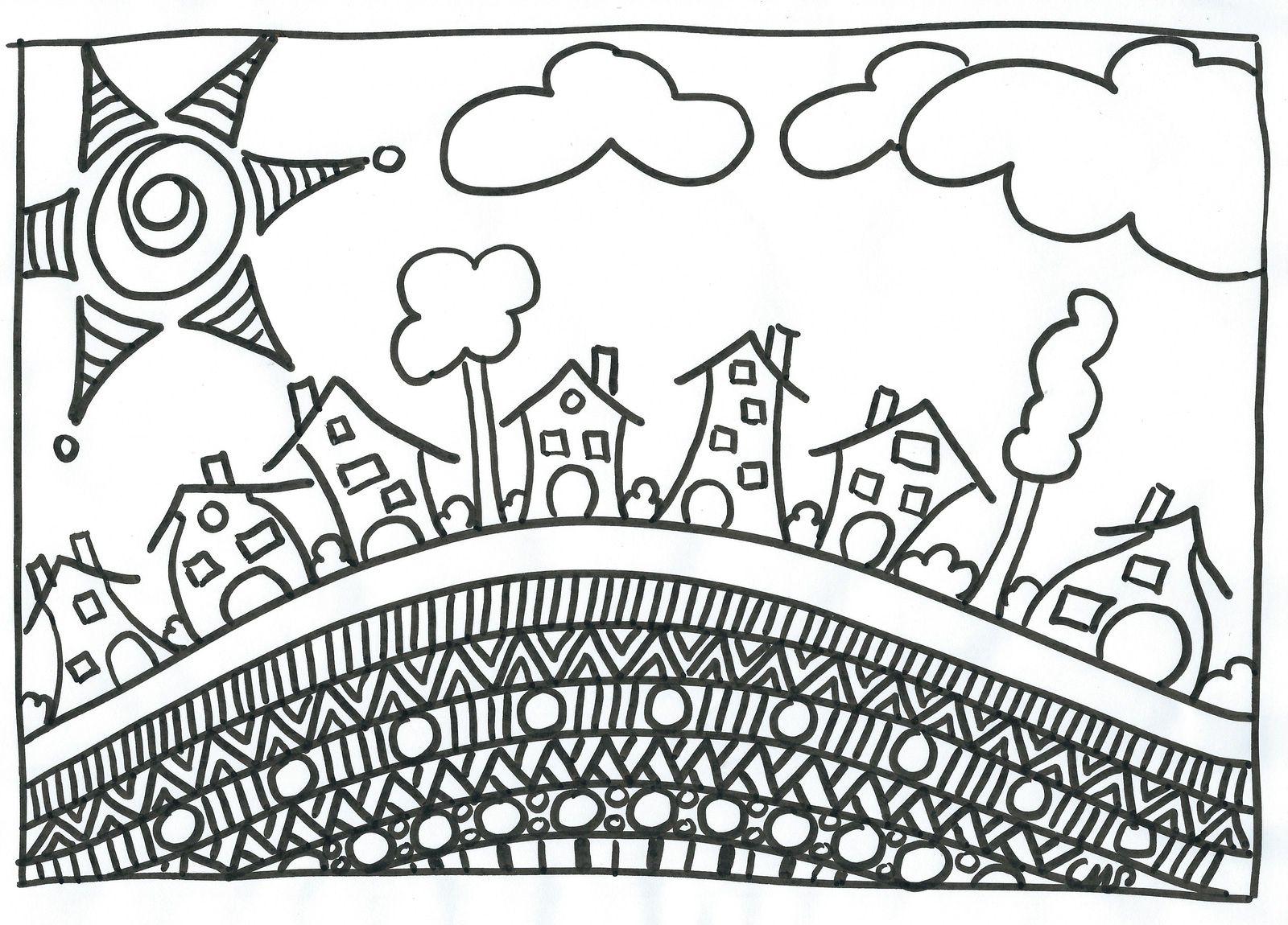 Coloriages Et Gribouillages - Crapouilleries encequiconcerne Coloriage Village De Noel