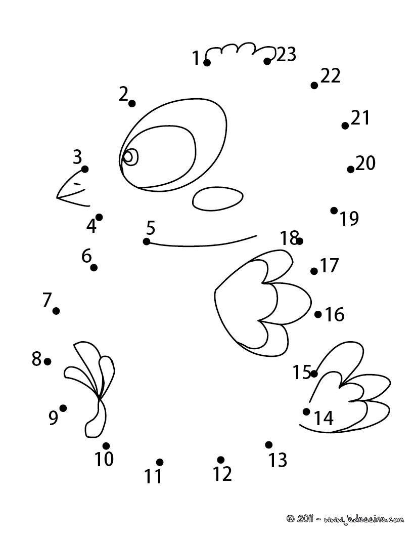 Coloriages Petite Poulette Pâques - Fr.hellokids à Jeu Relier Les Points En Ligne