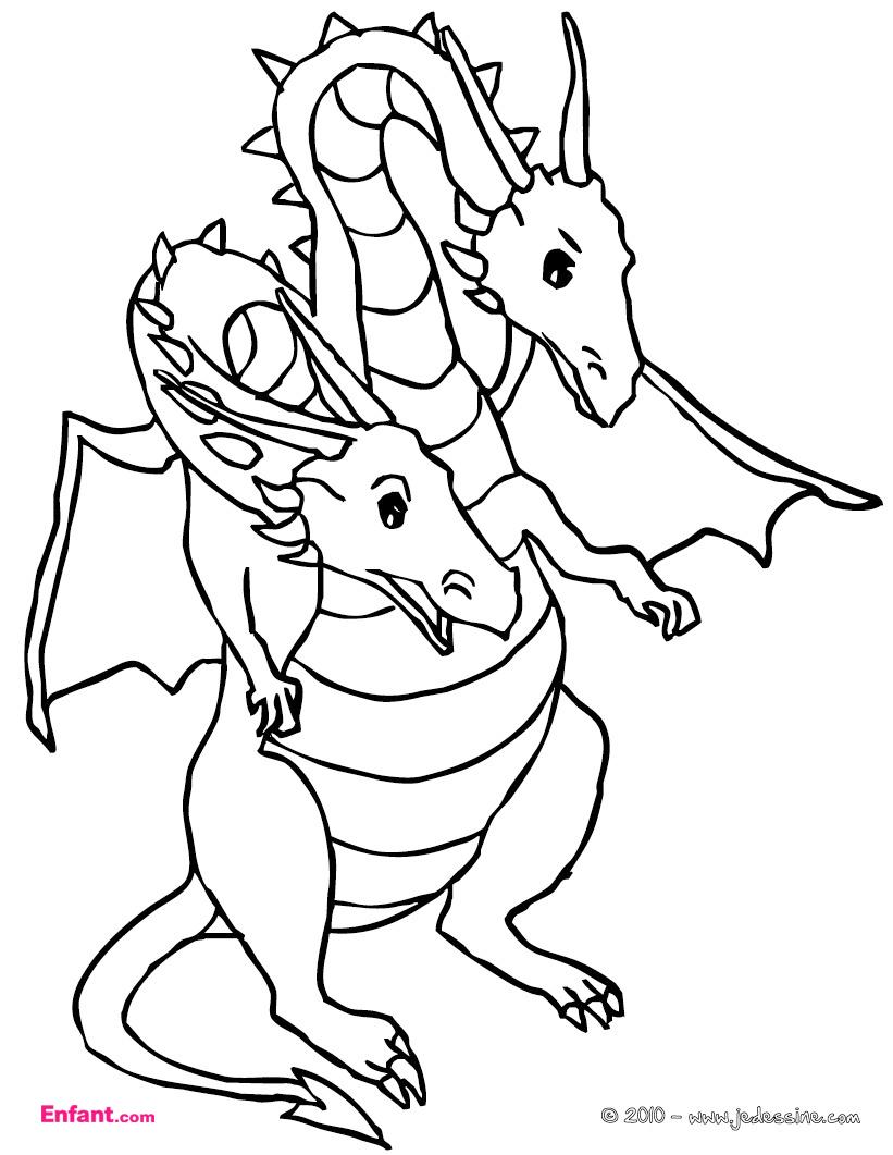 Coloriages Pour Garçon: Le Dragon À Deux Têtes à Coloriage Gratuit À Imprimer Pour Fille