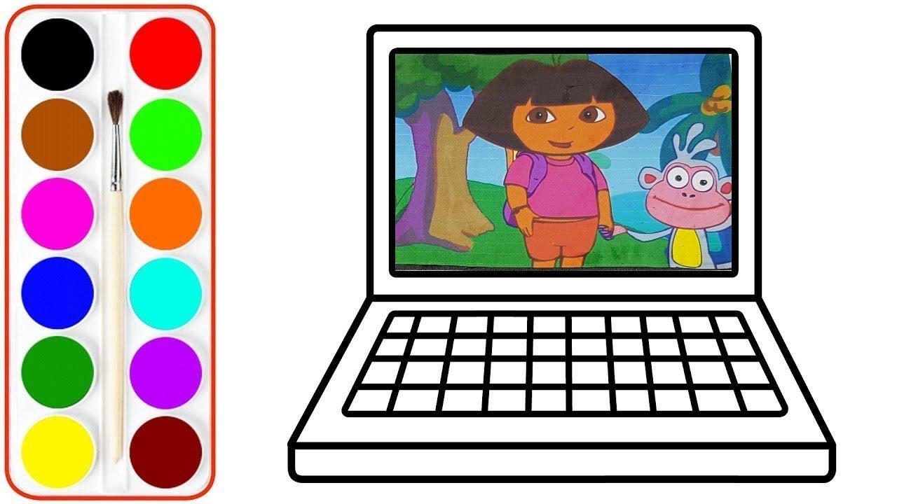 Colorier Et Dessiner Un Ordinateur Dora L'exploratrice Vidéo Éducative &  Planète Coloriage serapportantà Dessin À Colorier Sur L Ordinateur