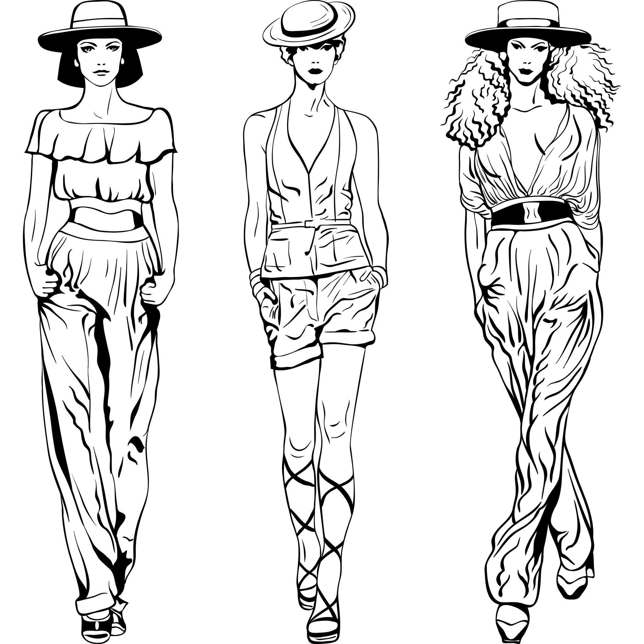 Coloring Fashion Woman | Mode Esquisse avec Coloriage Mode À Imprimer