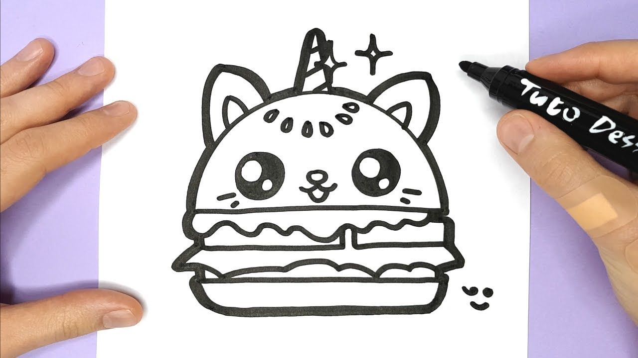 Comment Dessiner Et Colorier Un Hamburger Chat Licorne encequiconcerne Dessin Facile Pour Fille