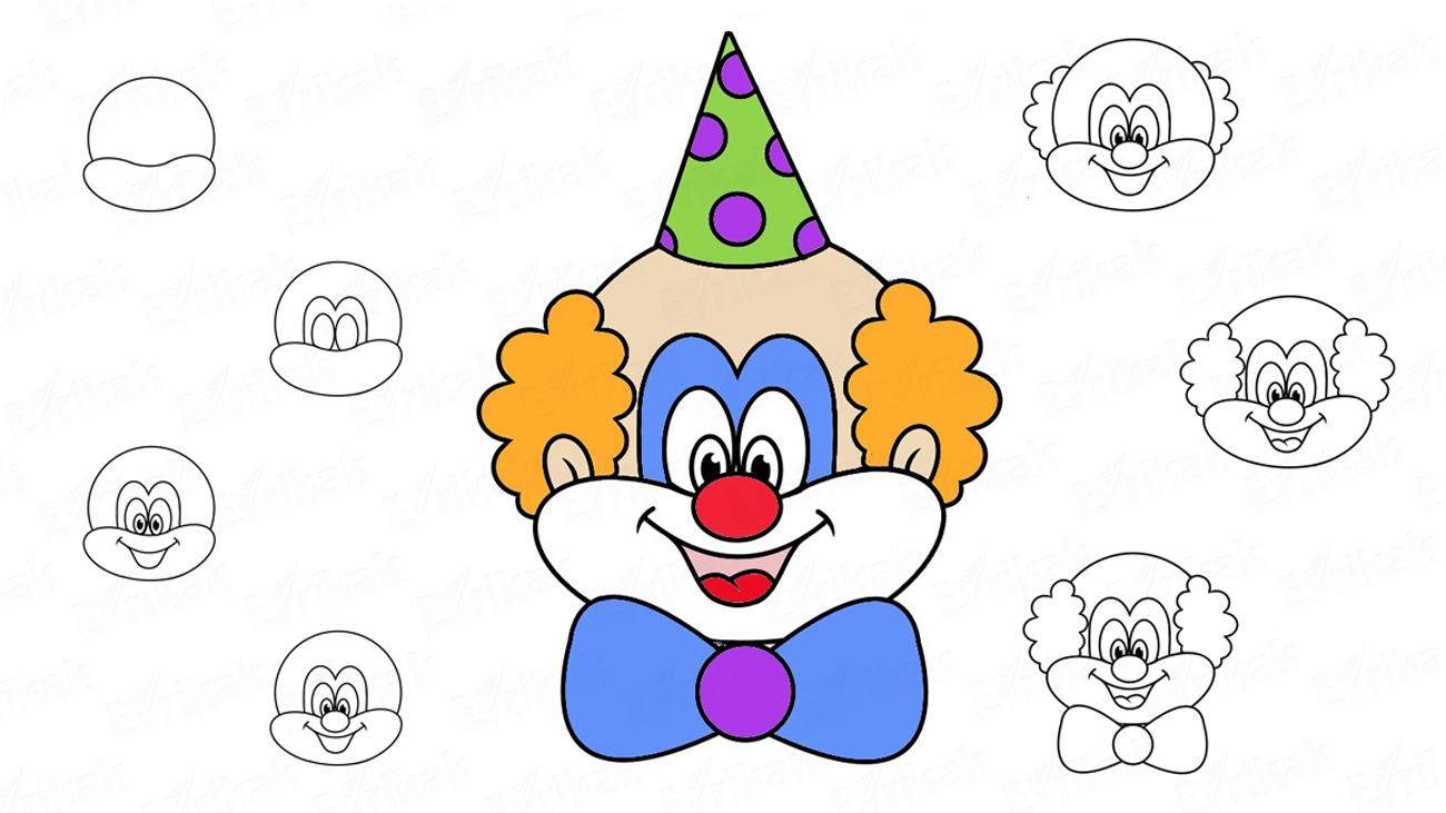 Comment Dessiner La Tête Du Clown Au Crayon Progressivement ? tout Dessin De Clown En Couleur