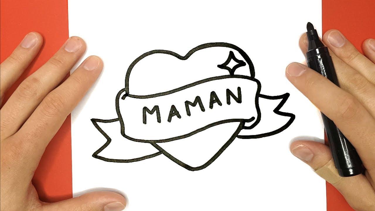 """Comment Dessiner Un Coeur Avec Un Ruban """"maman"""" - Tuto Dessin serapportantà Dessin Facile Pour Fille"""