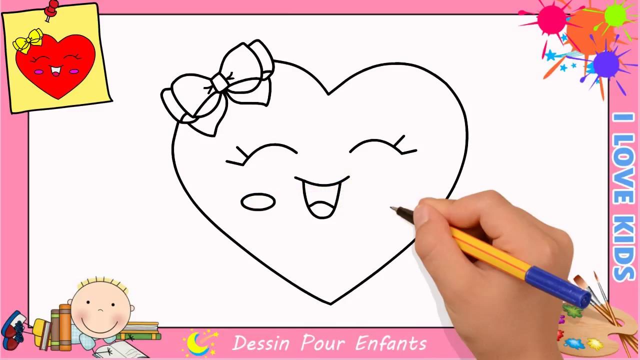 Comment Dessiner Un Coeur Emoji Kawaii & Facilement Pour Enfants 7 avec Dessin Facile Pour Fille