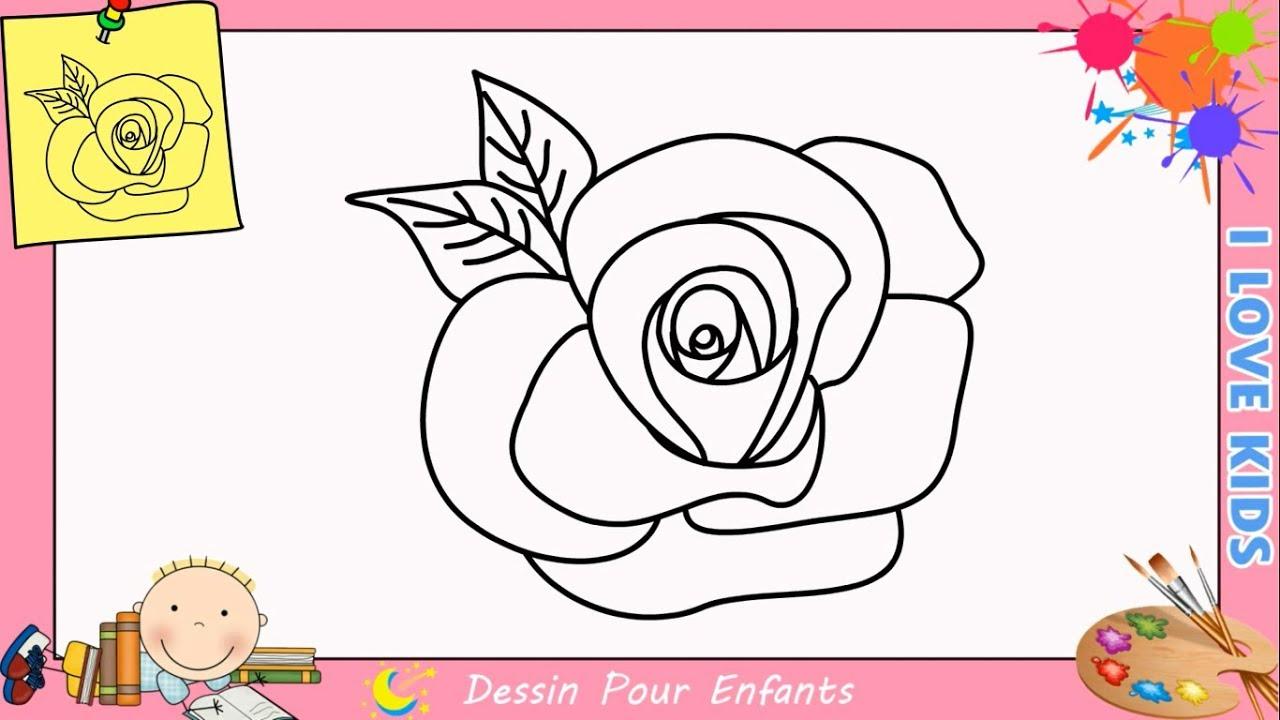 Comment Dessiner Une Rose Facilement Etape Par Etape Pour Enfants 1 pour Dessin Facile Pour Enfant