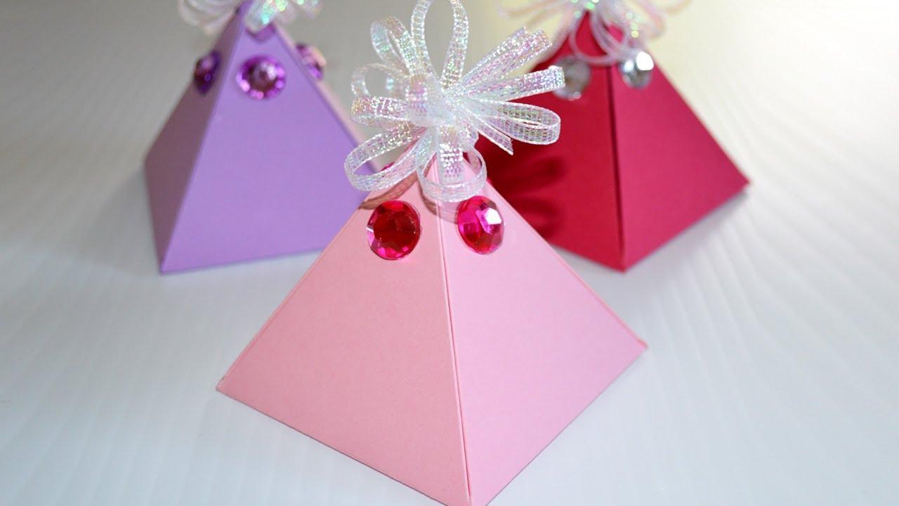 Comment Fabriquer Une Boite Cadeau Facile - Diy Boite En Papier Pyramide pour Gabarit Boite En Papier