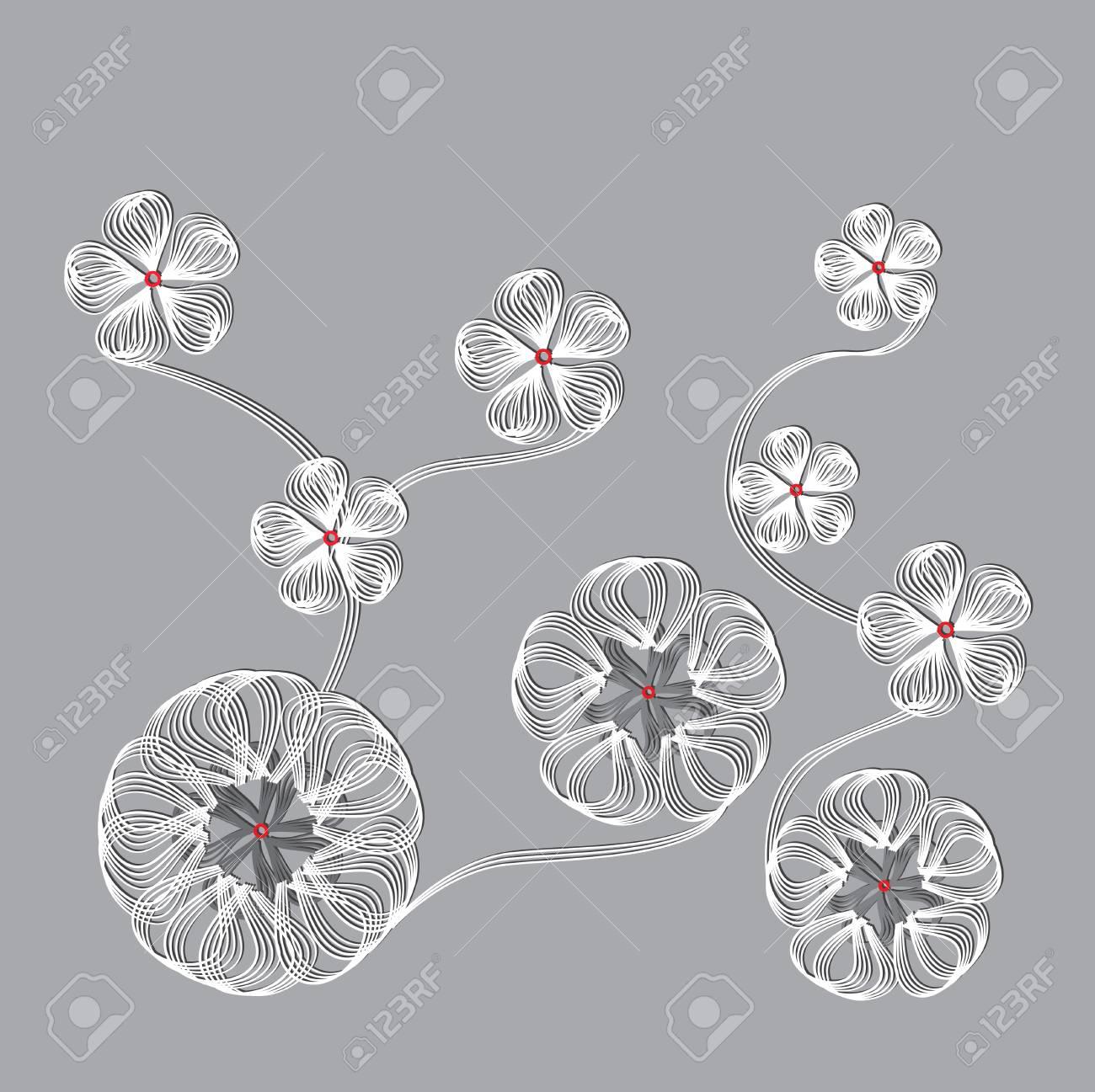 Composition De Géométrie. Fleur De Symétrie De La Ligne. dedans Symétrie En Ligne