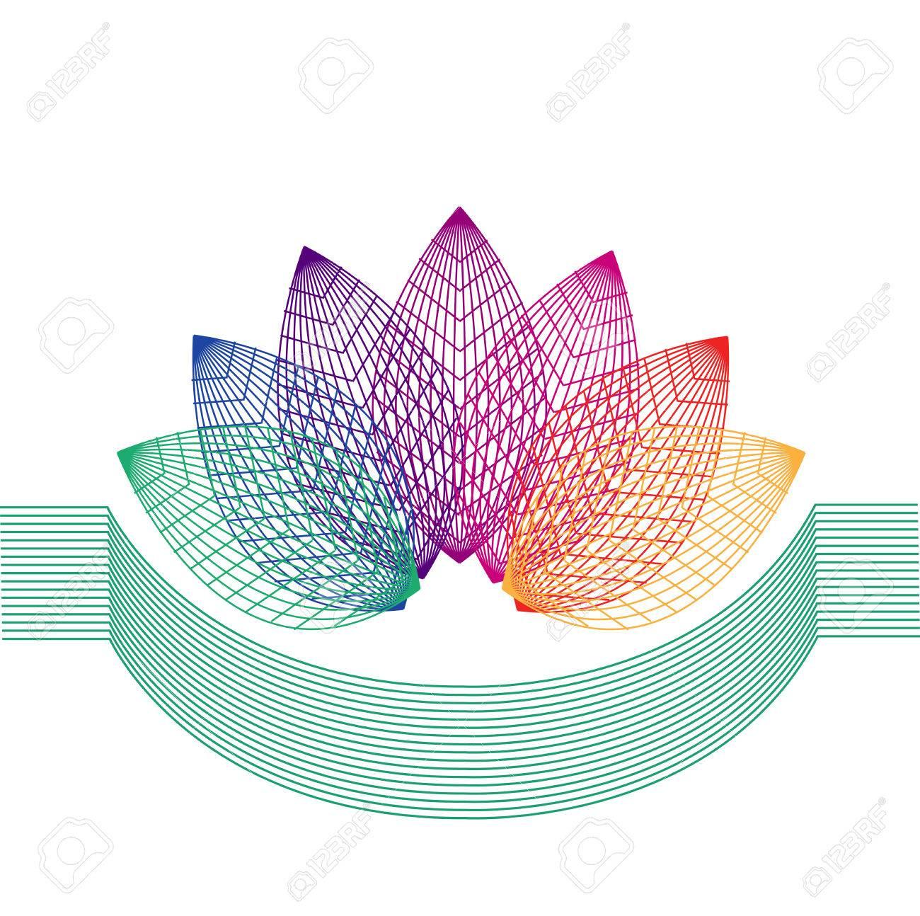 Composition De La Géométrie. Symétrie Fleur De La Ligne. dedans Symétrie En Ligne