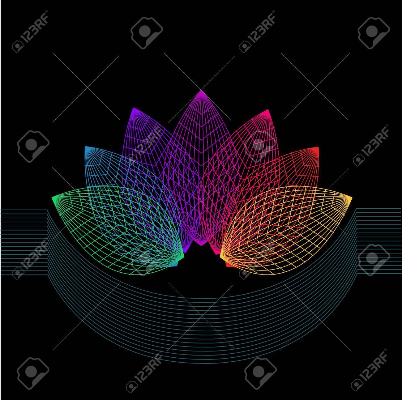 Composition De La Géométrie. Symétrie Fleur De La Ligne. encequiconcerne Symétrie En Ligne
