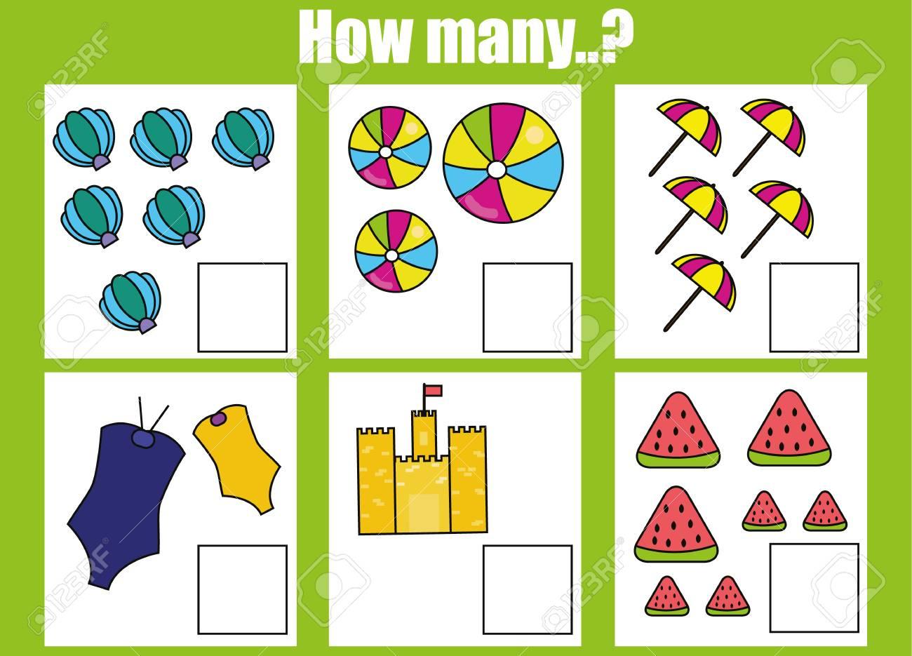 Comptage Jeu Éducatif Pour Les Enfants, Activités Pour Les Enfants Feuille  De Calcul. Combien De Tâches D'objets. L'apprentissage Des Mathématiques, destiné Jeu Calcul Enfant
