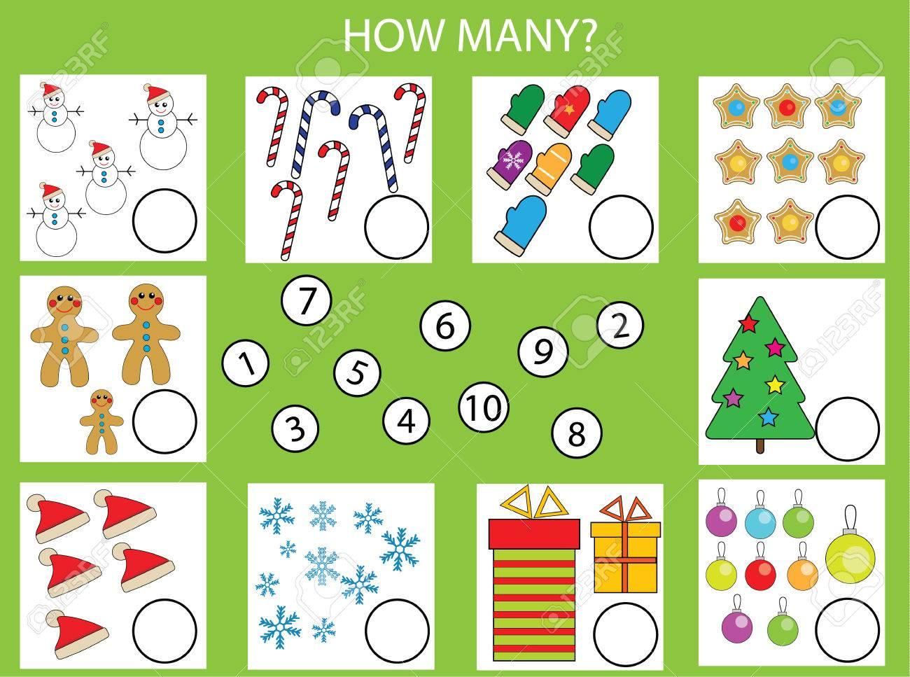 Comptage Jeu Éducatif Pour Les Enfants, Activités Pour Les Enfants Feuille  De Calcul. Combien D'objets Tâche, Thème De Noël. L'apprentissage Des serapportantà Jeu Calcul Enfant