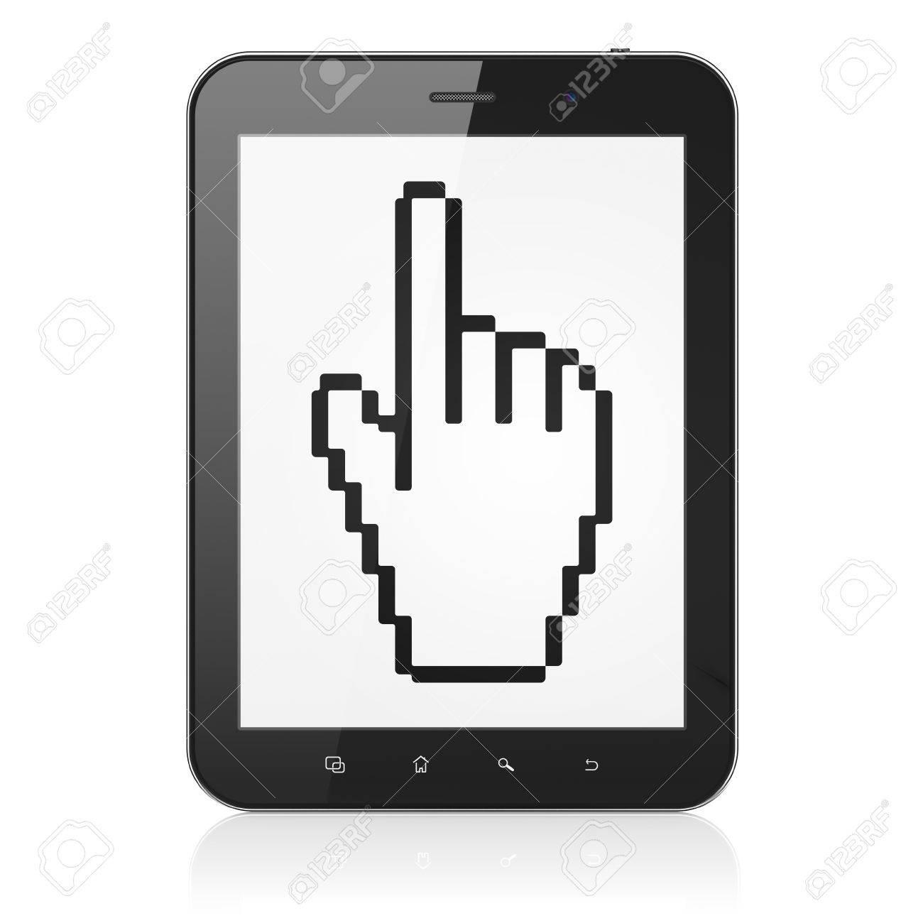 Concept De Web Design: Noir Ordinateur Pc Tablette Avec Curseur De La  Souris Sur L'icône D'affichage. Moderne Pavé Tactile Portable Sur Fond  Blanc, intérieur La Souris Du Web