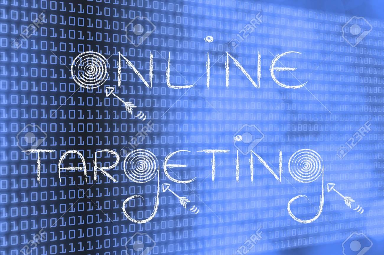 Concepts De Marketing Numérique: Les Mots «Ciblage En Ligne» Avec Des  Cibles Et Des Flèches Réelles concernant Mot Fleché En Ligne