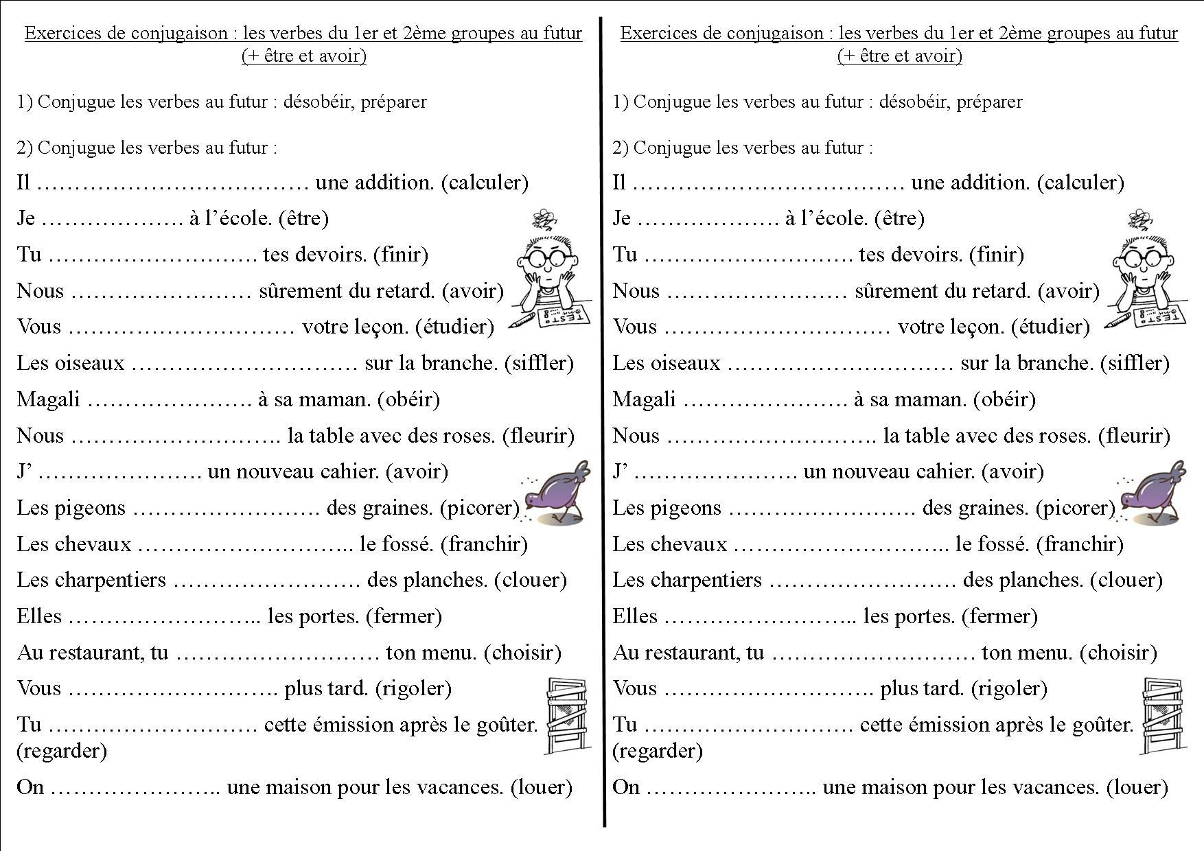 Conj 12 Ce2 : Les Verbes Du 1Er Et 2Ème Groupes Au Futur destiné Exercice De Ce2 Gratuit