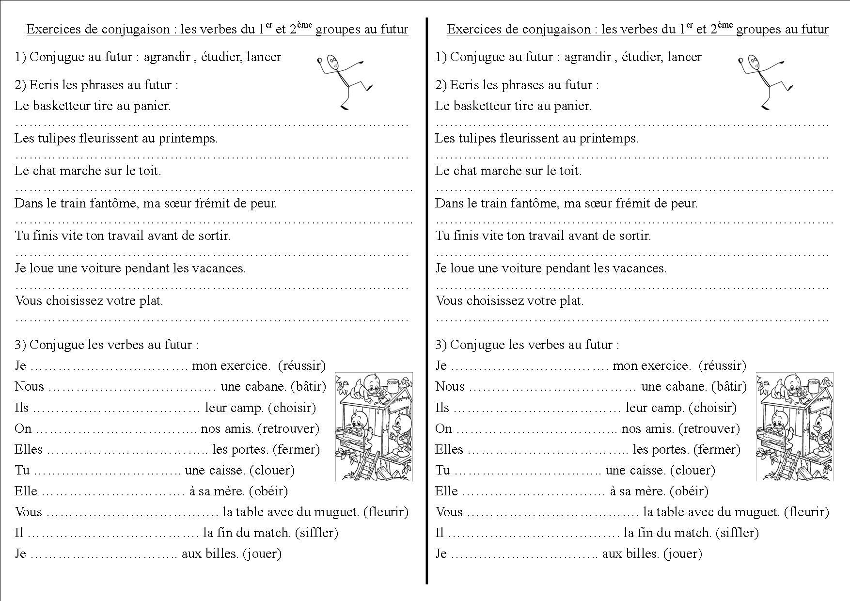 Conj 12 Ce2 : Les Verbes Du 1Er Et 2Ème Groupes Au Futur serapportantà Exercice Cm1 Conjugaison À Imprimer