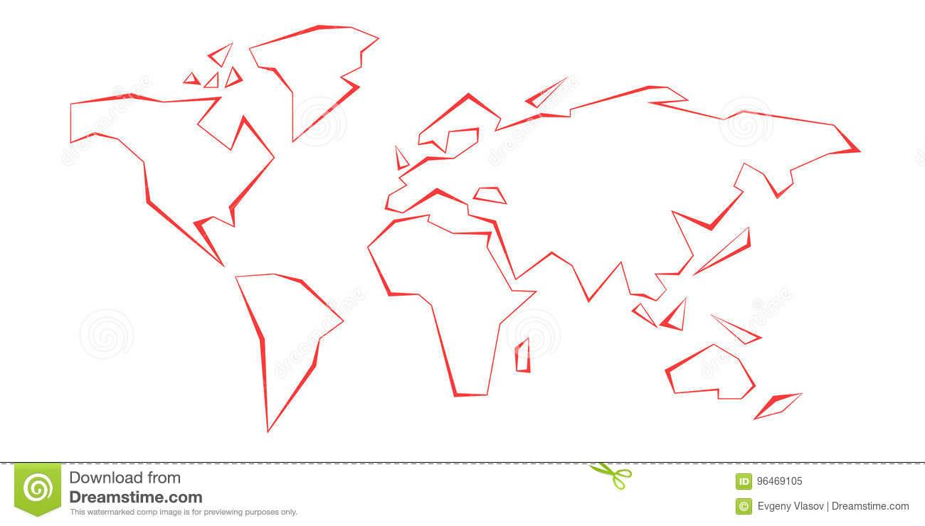 Continents De Découpe Carte Du Monde Ligne Rouge Descripteur encequiconcerne Carte Du Monde En Ligne