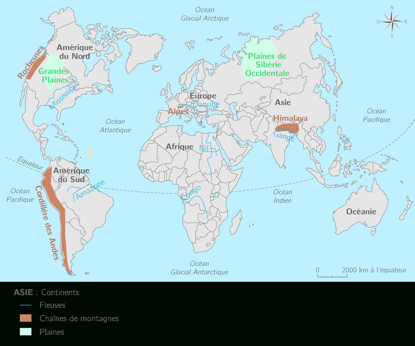 Continents, Océans, Fleuves Et Reliefs Dans Le Monde - 3E concernant Carte De France Avec Les Fleuves