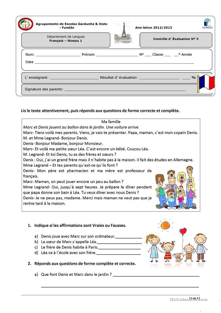 Contrôle Niveau 1 « La Famille Et La Maison» | Exercices Fle à Fiche De Français Ce2