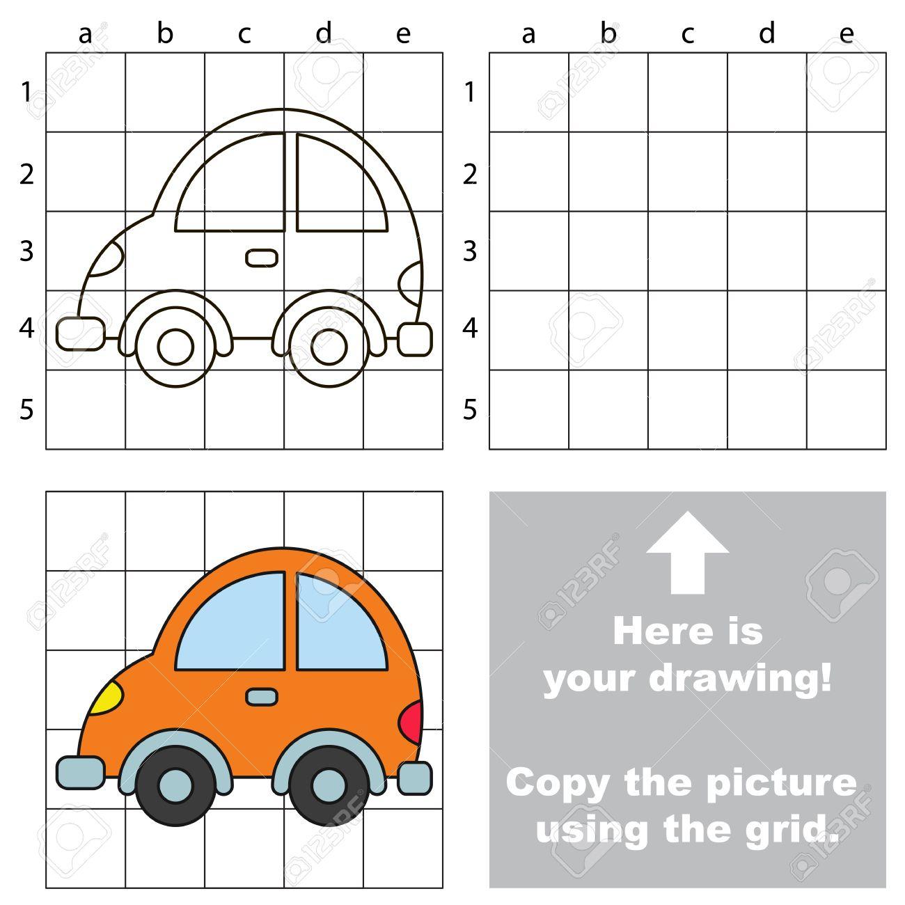 Copiez L'image En Utilisant Des Lignes De Grille. Un Jeu Éducatif Facile  Pour Les Enfants. Jeu De Dessin Simple Avec Voiture encequiconcerne Voiture Facile À Dessiner