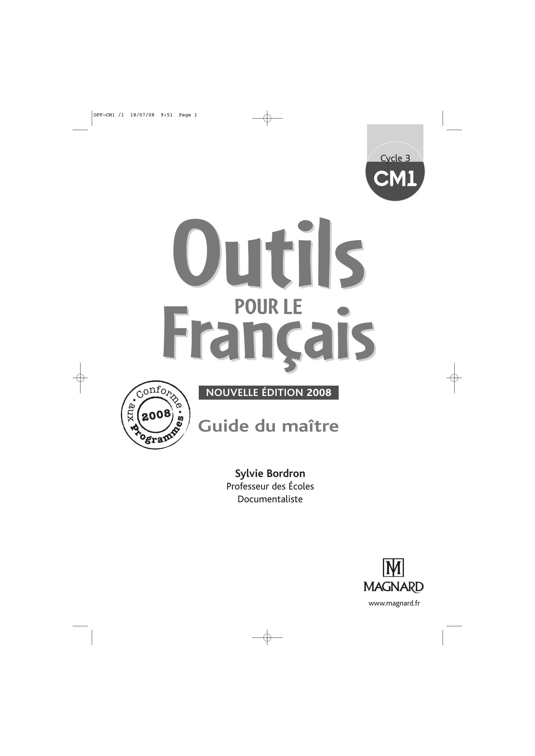 Corrigés Des Exercices - Outils Pour Le Français Cm1 à Exercice Cm1 Conjugaison À Imprimer
