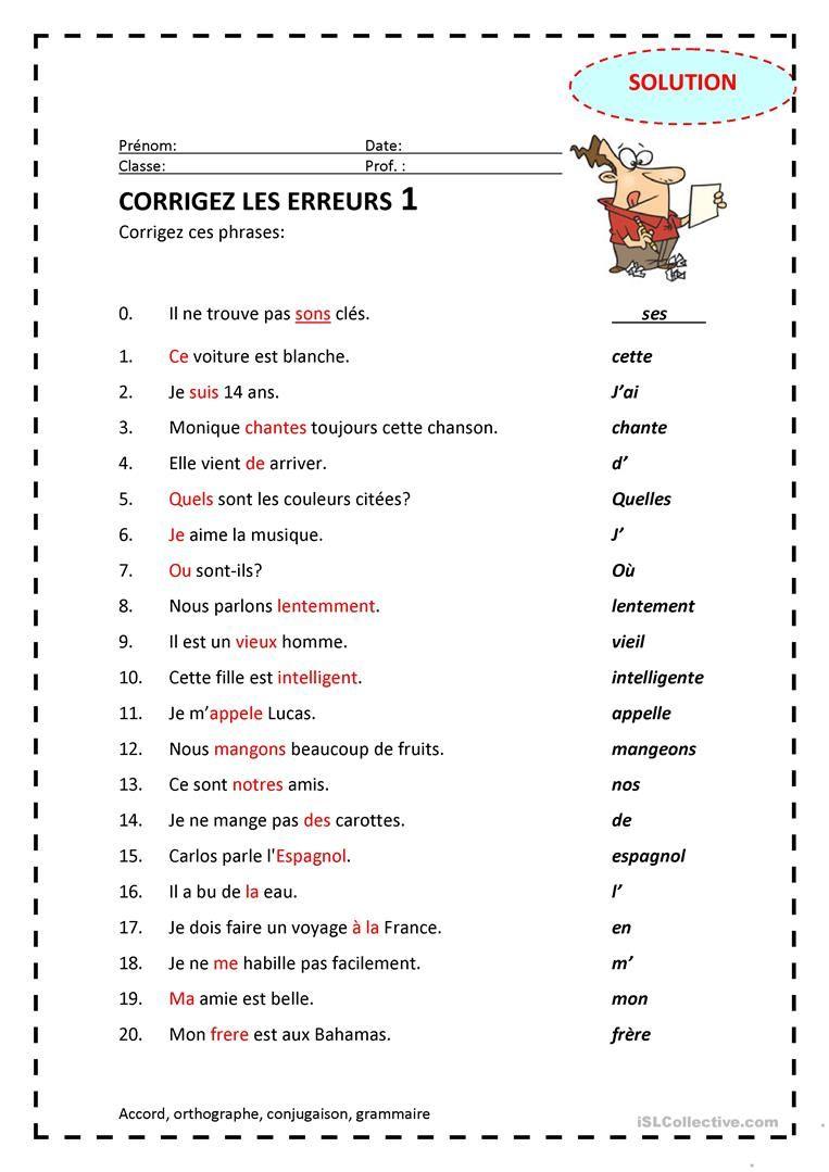Corrigez Les Erreurs 1 | Fle, Evaluation Cm2 Et Apprendre Le dedans Fiche D Exercice Cp