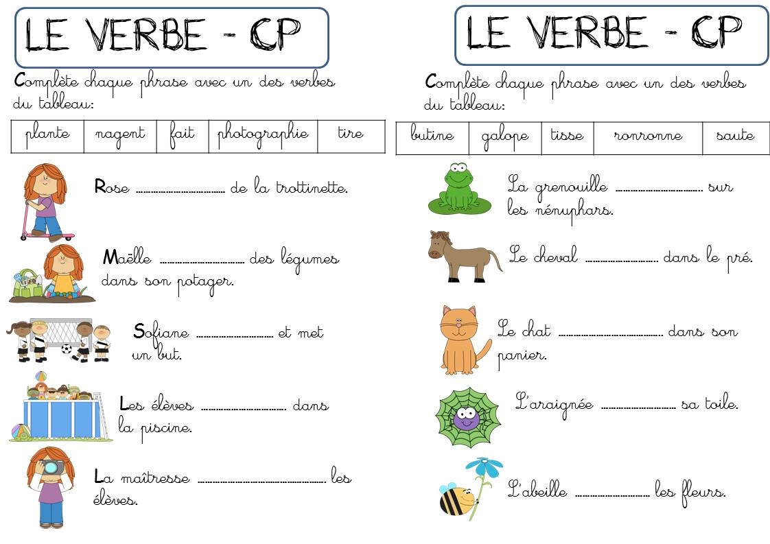 Cp - Autour Du Verbe - La Classe De Corinne à Exercice Cp A Imprimer
