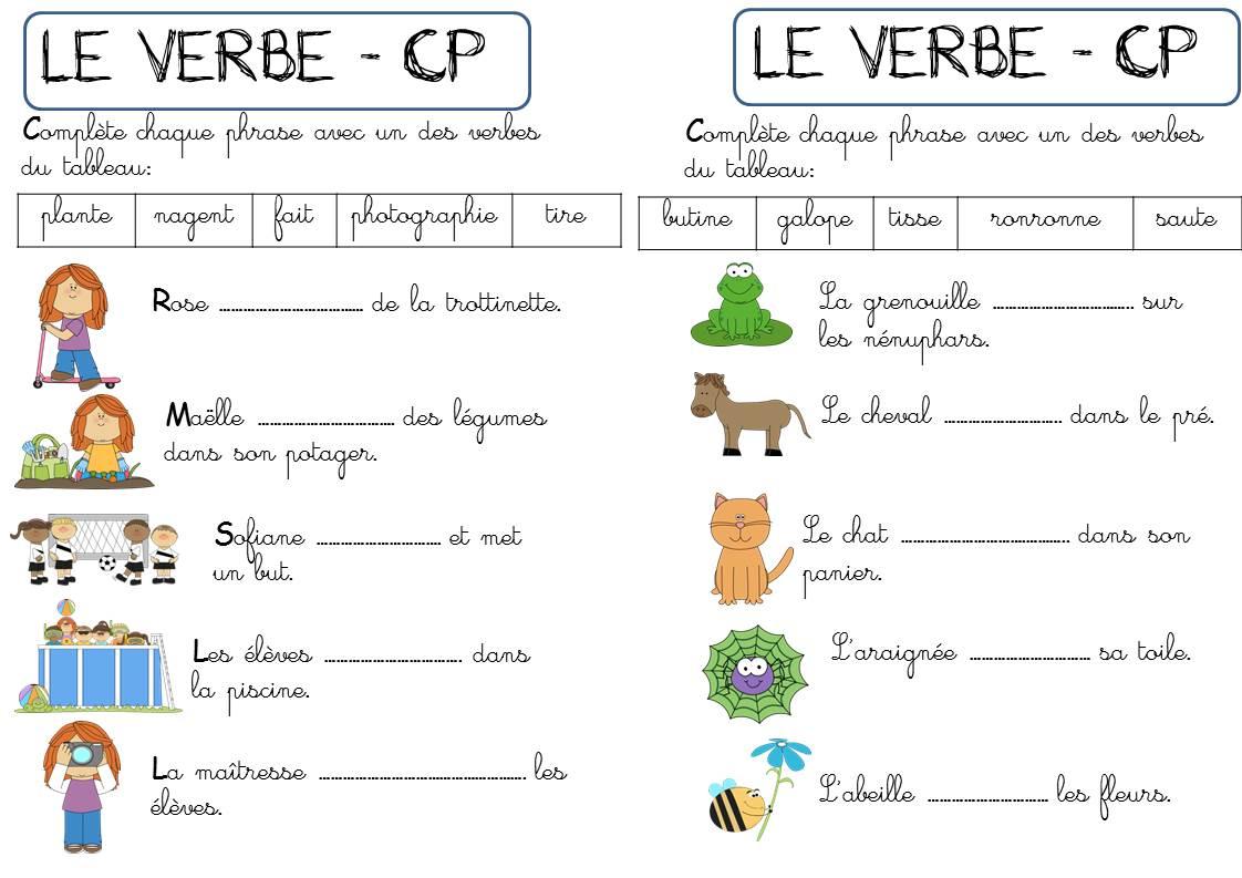Cp - Autour Du Verbe - La Classe De Corinne intérieur Exercices De Cp À Imprimer
