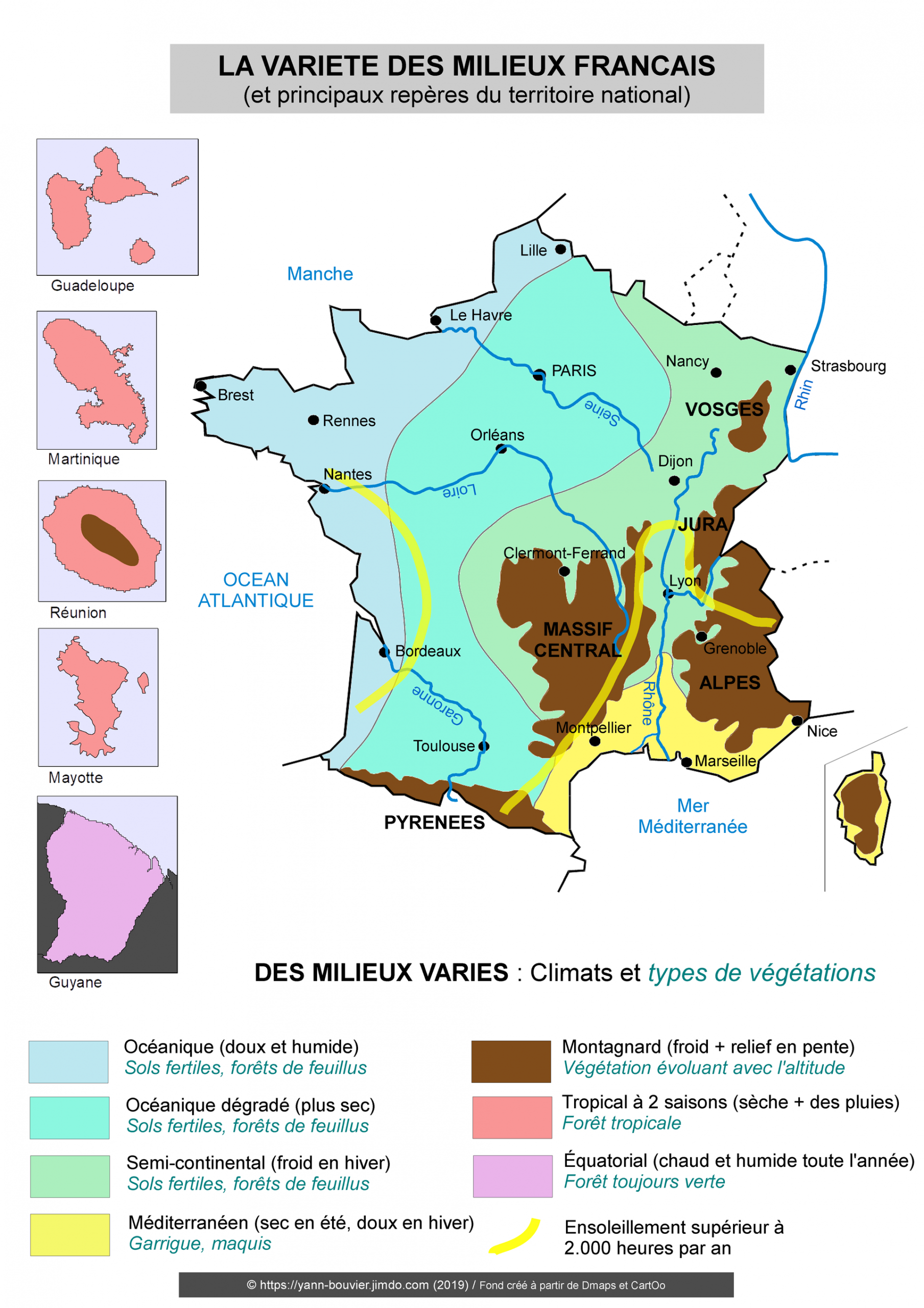 Croquis De Géographie (2Nde) - Les Repères (Reliefs, Fleuves avec Carte De France Des Fleuves