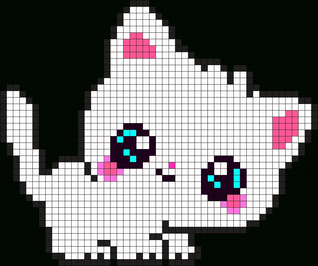 Cute Kitty Perler Bead Pattern / Bead Sprite | Kanaviçe dedans Pixel Art Fraise