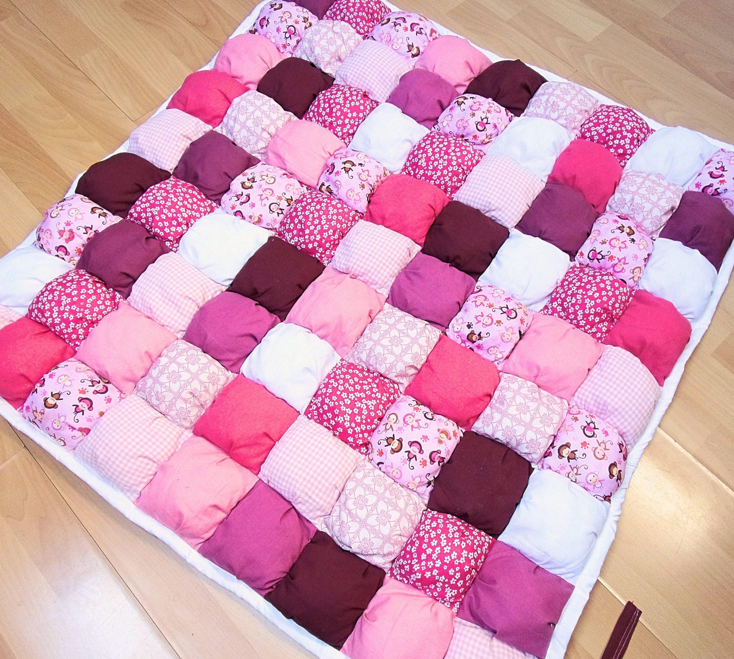 Deco Chambre Fille, Puff Quilt Rose, Tapis Bébé, Tapis De dedans Jeux Bebe Fille