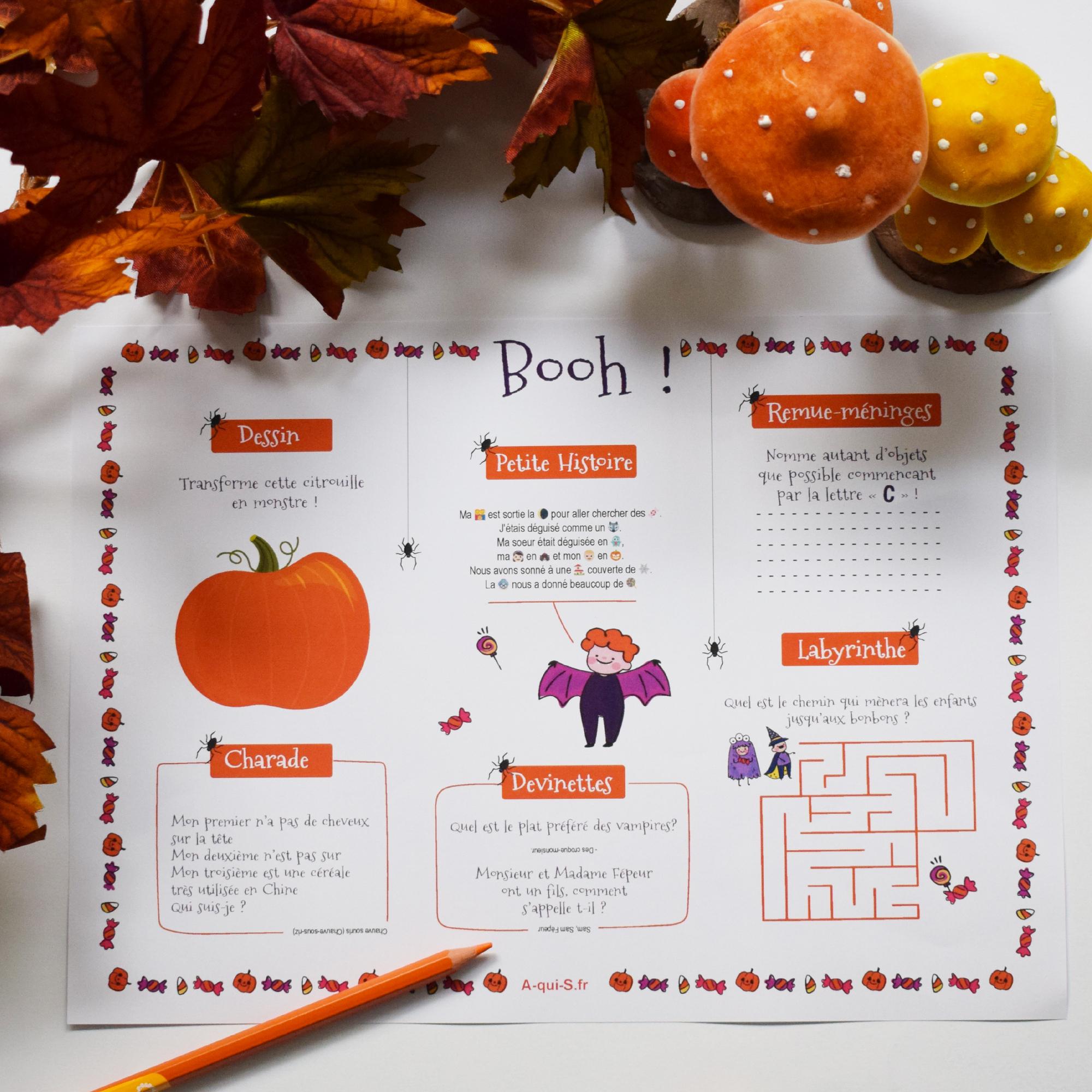 Décoration D'halloween Pour Enfant : Un Set De Table Gratuit dedans Charade A Imprimer