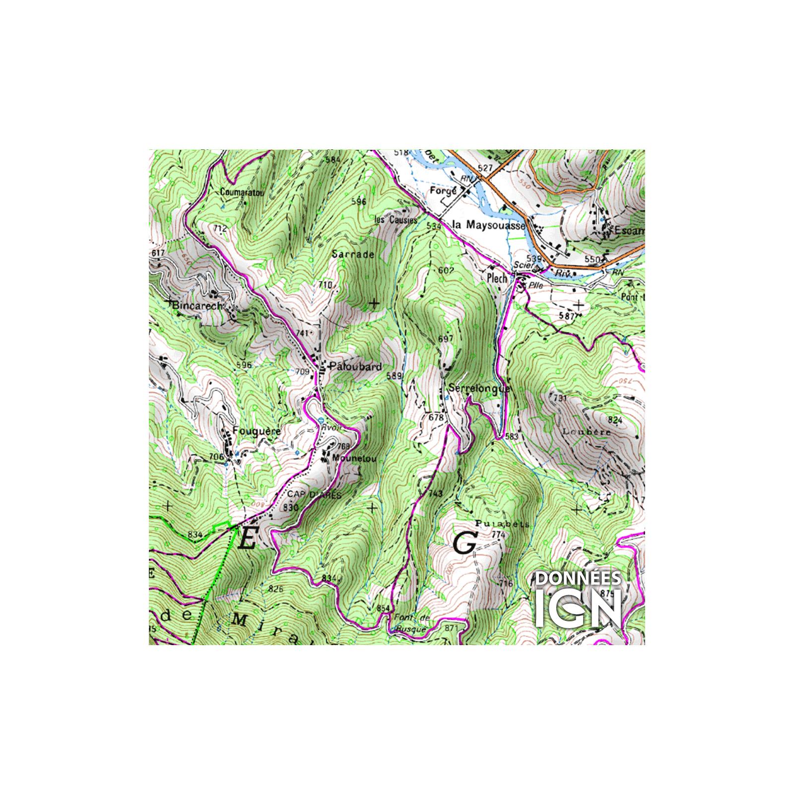 Département Ariège (09) - 1 : 25 000 intérieur Département 09 Carte