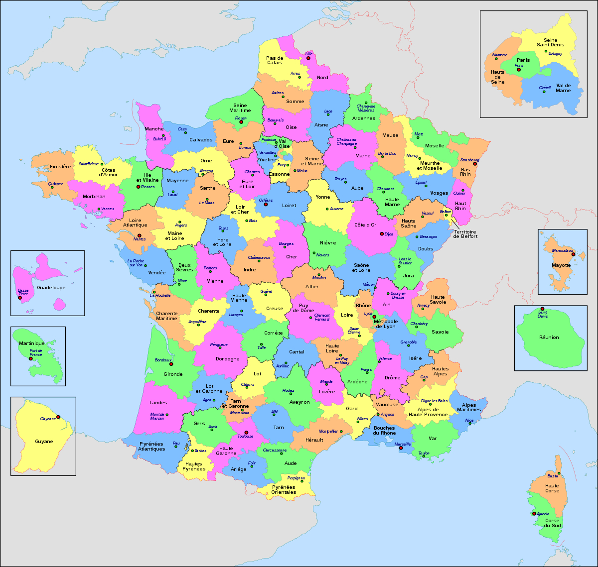 Département Français — Wikipédia encequiconcerne Carte Departement Francais Avec Villes