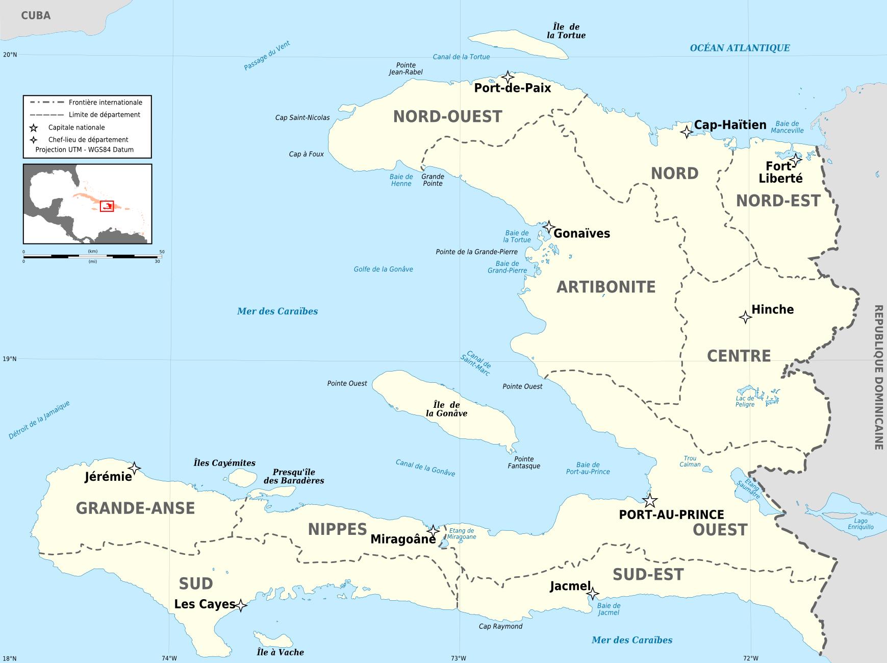 Départements D'haïti — Wikipédia dedans Departement Et Chef Lieu