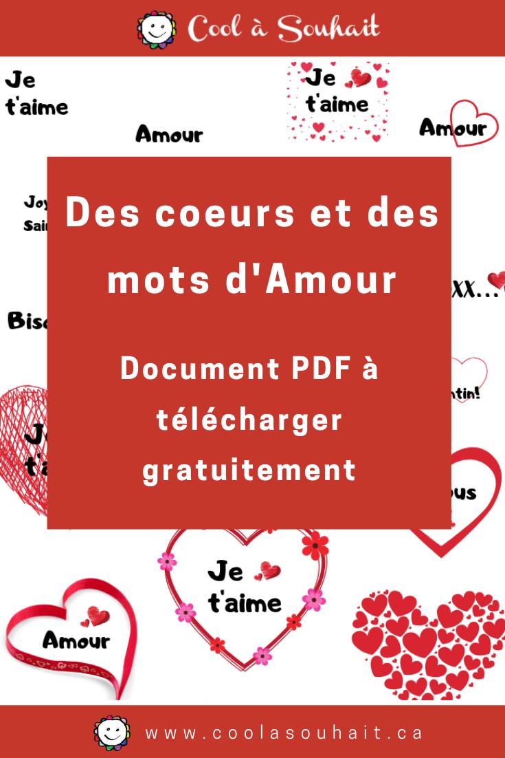 Des Coeurs Et Des Mots D'amour Pour La Saint-Valentin | Mots à Découper En Anglais