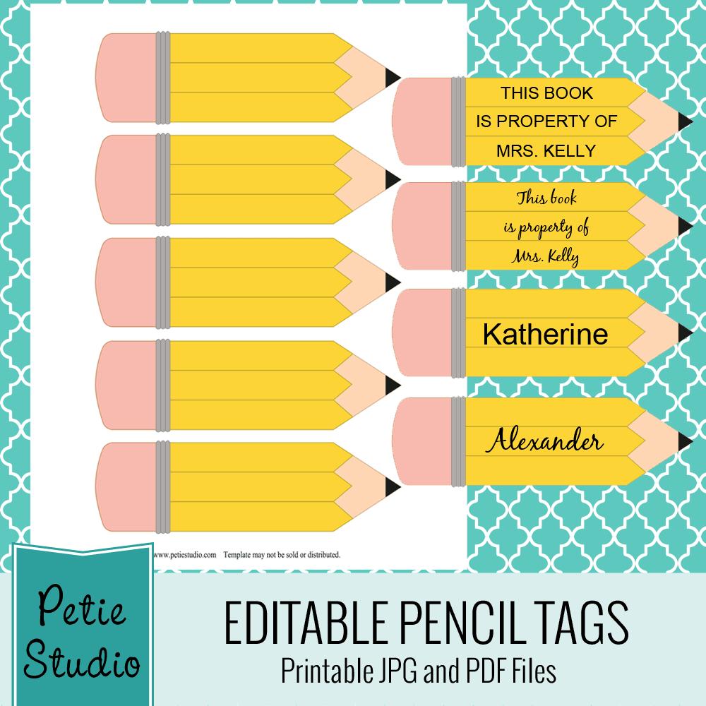 Des Étiquettes Crayon Et Un Motif Fournitures Scolaires (À intérieur Etiquette Scolaire Personnalisé Gratuit