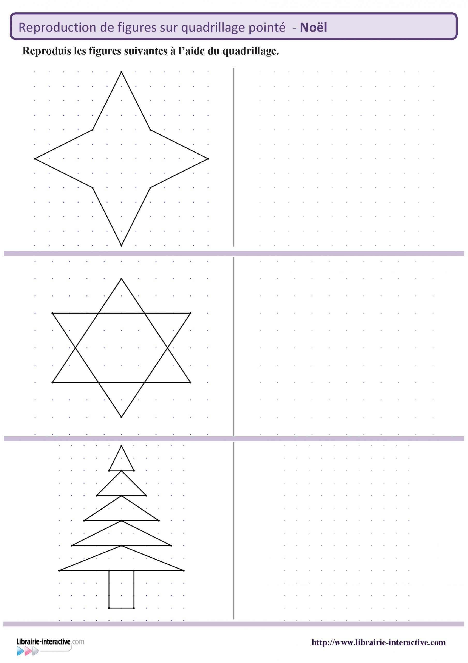 Des Figures Géométriques Sur Le Thème De Noël À Reproduire concernant Reproduction Sur Quadrillage Cm1 A Imprimer