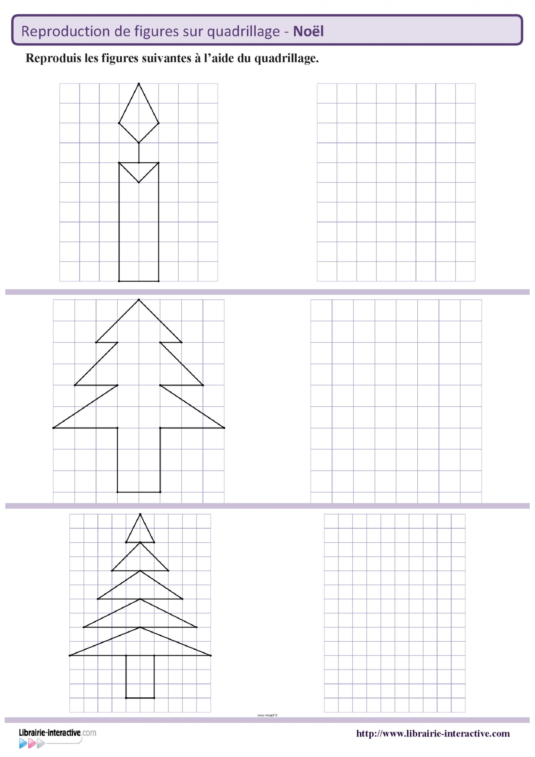 Des Figures Géométriques Sur Le Thème De Noël À Reproduire dedans Exercice Reproduction Sur Quadrillage Ce1